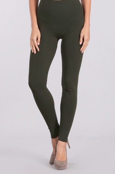 High Waisted Leggings - One Size, Regular Length (Olive)