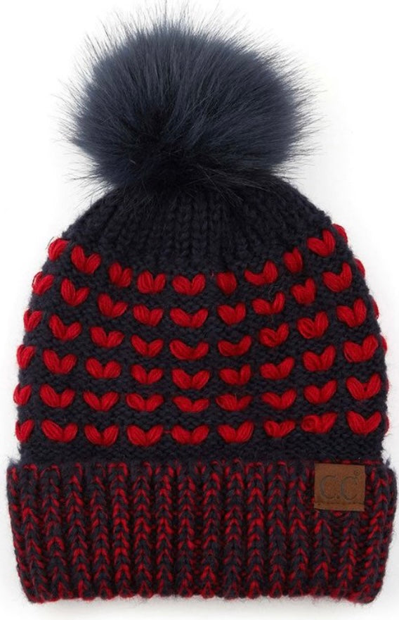 CC Pom Red and Navy Hat