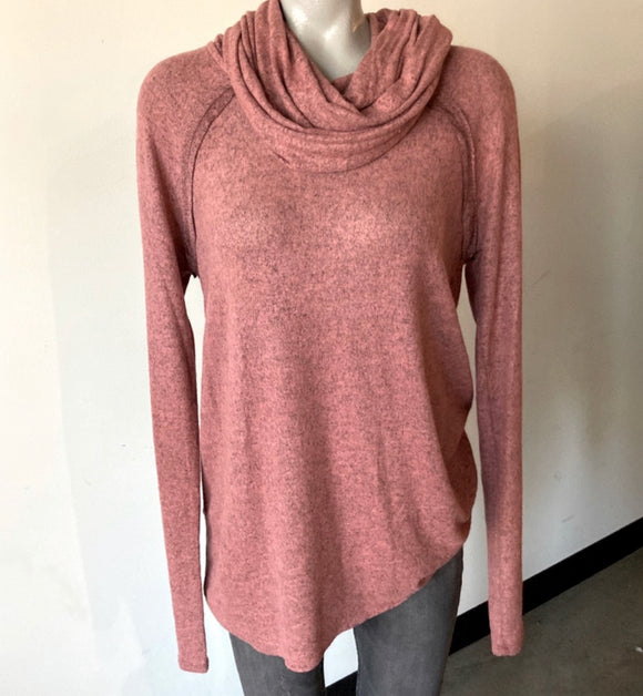 Deep Pink Cowl Neck Sweater