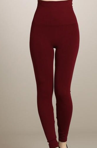 High Waisted Leggings - One Size, Regular Length (Burgundy)