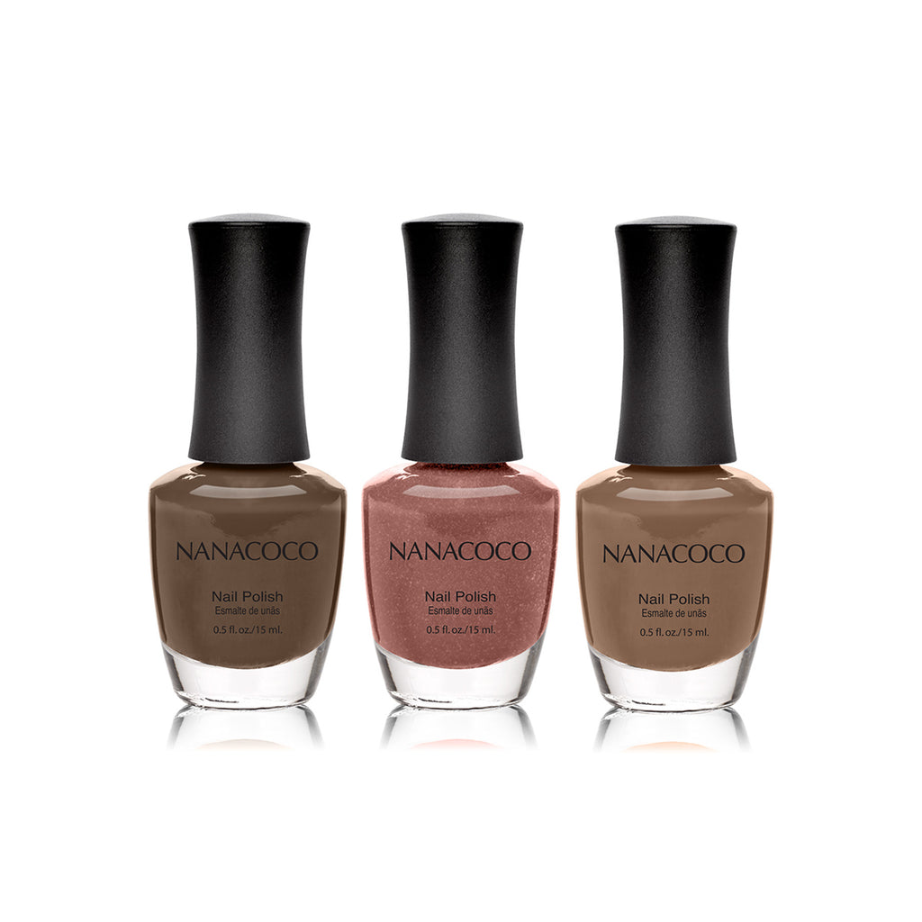 "Nanacoco ""Brown Shimmer"" 3 Piece Nail Polish Set"