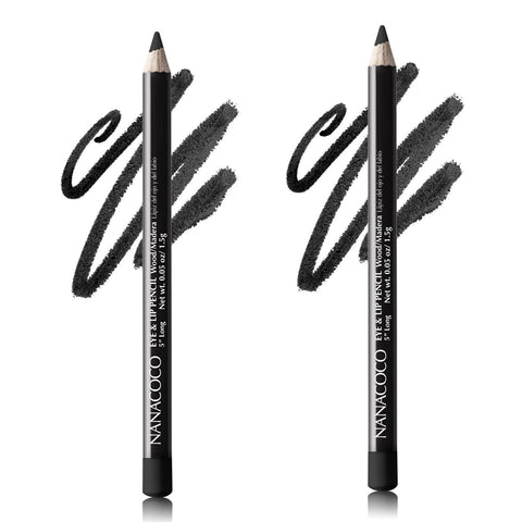 Set of Two Wooden Eye & Lip Pencil, Black