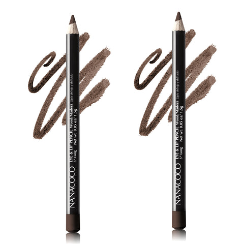 Set of Two Wooden Eye & Lip Pencil, Dark Brown