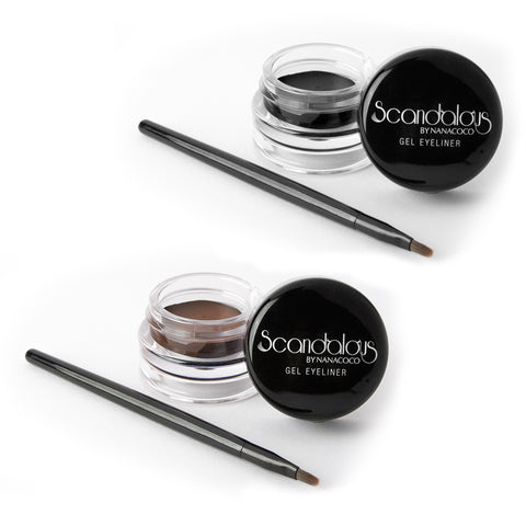 Set of Two Scandalous Gel Eyeliner, Black & Dark Brown