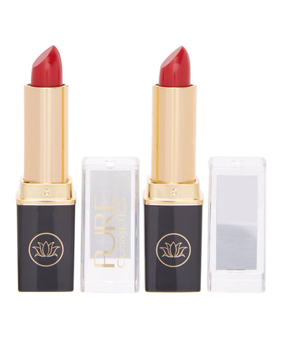 Set of Two - Nourishing No Fade Lipstick with LED Press Button Light & Side Mirror