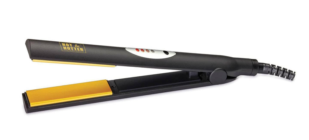 "Hot & Hotter Professional Gold Ceramic Flat Iron 1"" Round Body 5891"