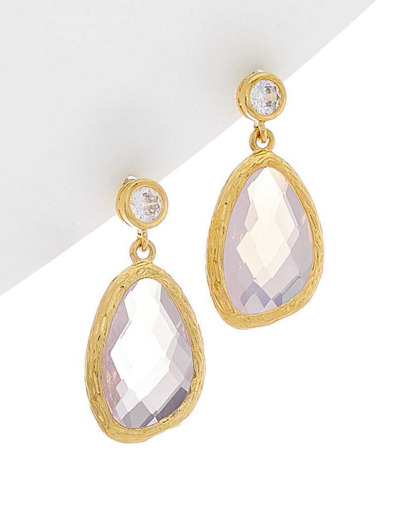 Double Drop Oblong Freeform & Bezel Gemstone Earrings
