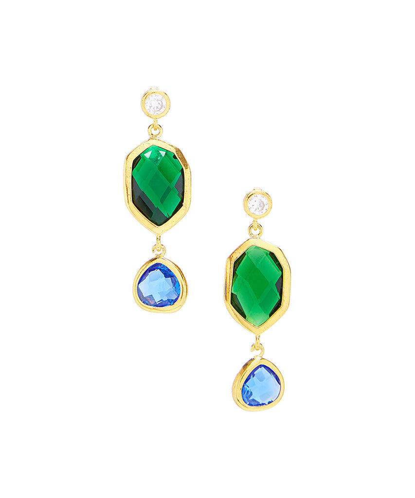 Triple Drop Marquise Statement Gemstone Earrings