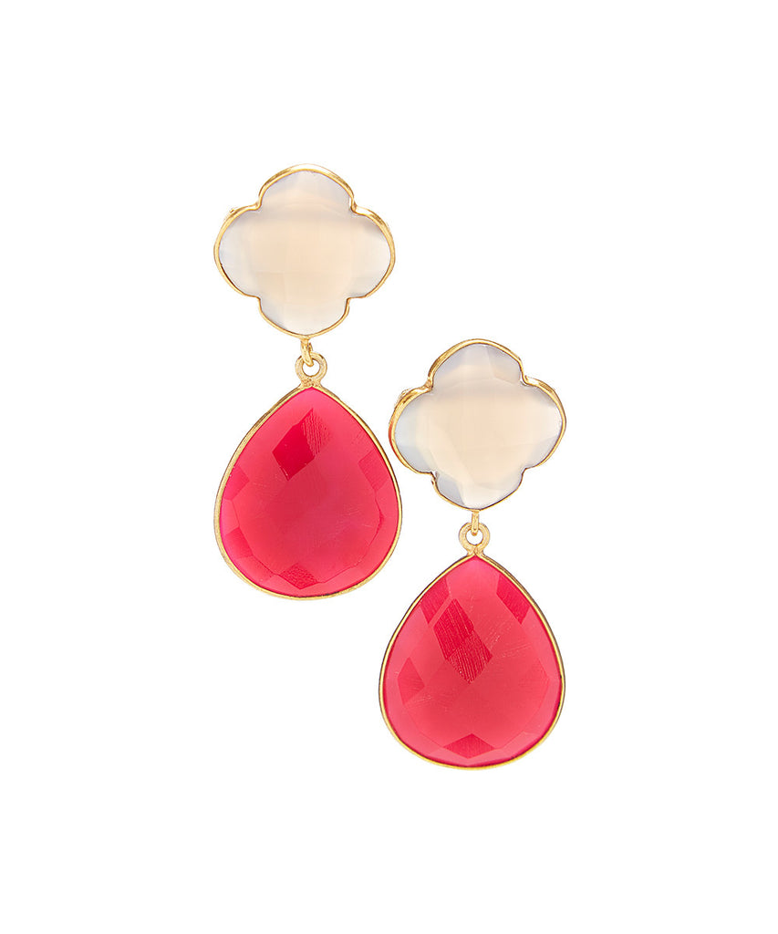 Double Drop Quatrefoil Gemstone Earrings