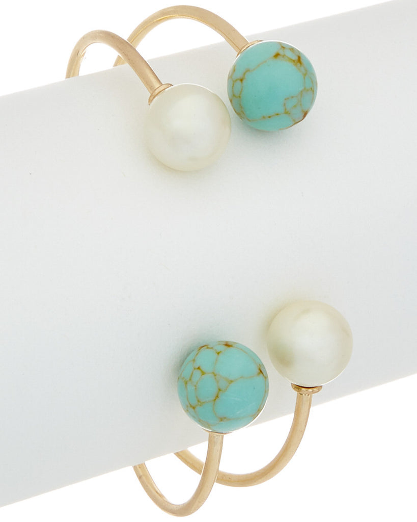 Double Gemstone & Pearl Open Bangle
