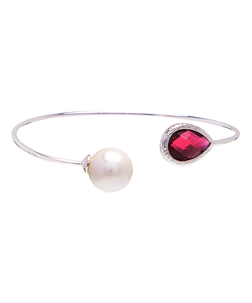 Teardrop Gemstone & Pearl Open Bangle
