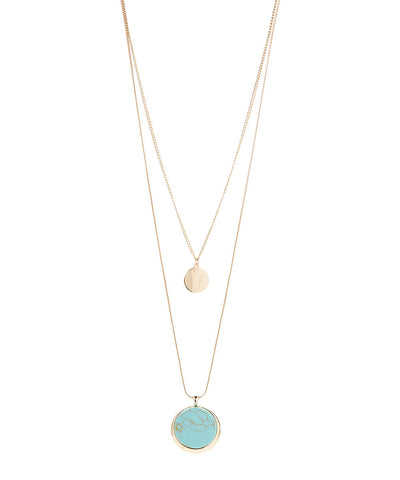 Double Layer Gemstone Pendant Necklace