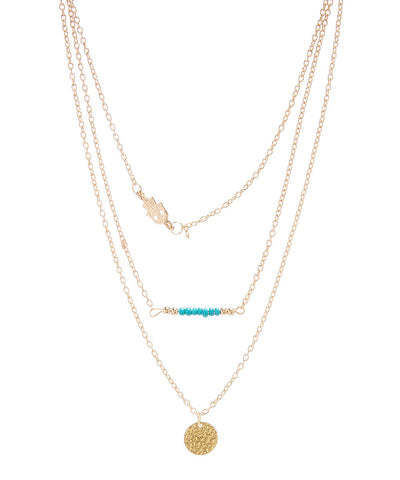 Triple Layer Charm Necklace with Hamsa & Skinny Turquoise Bar