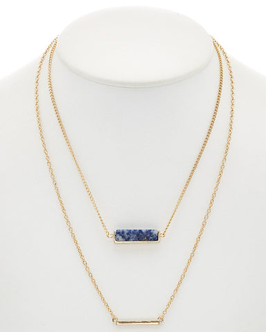 Double Layer Charm Necklace with Druzy & Gold Bar