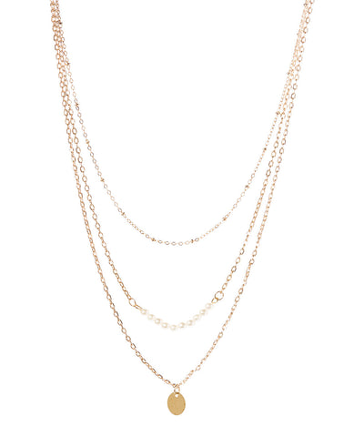 Triple Layer Charm Necklace with Pearl Beads