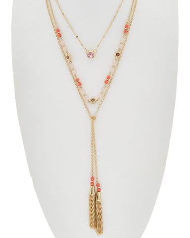 Lariat Double Tassel Necklace