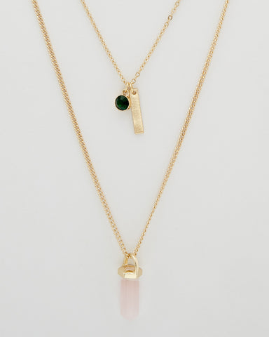 Double Layer Necklace with Bar Shapes
