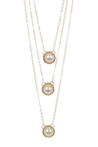 Triple Layer Pearl Pendant Necklace