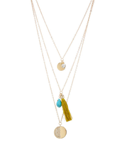 Triple Layer Gemstone Necklace with Tassel