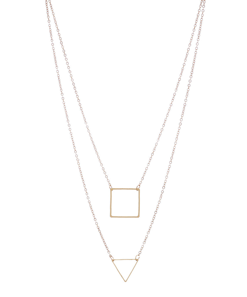 Double Layer Gold Shapes Necklace