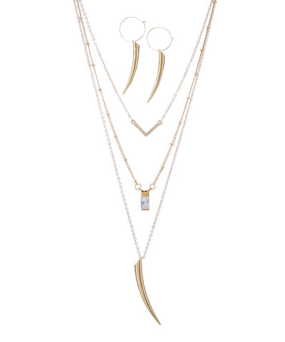 Gold Horn Earring & Multi Layer Necklace Set