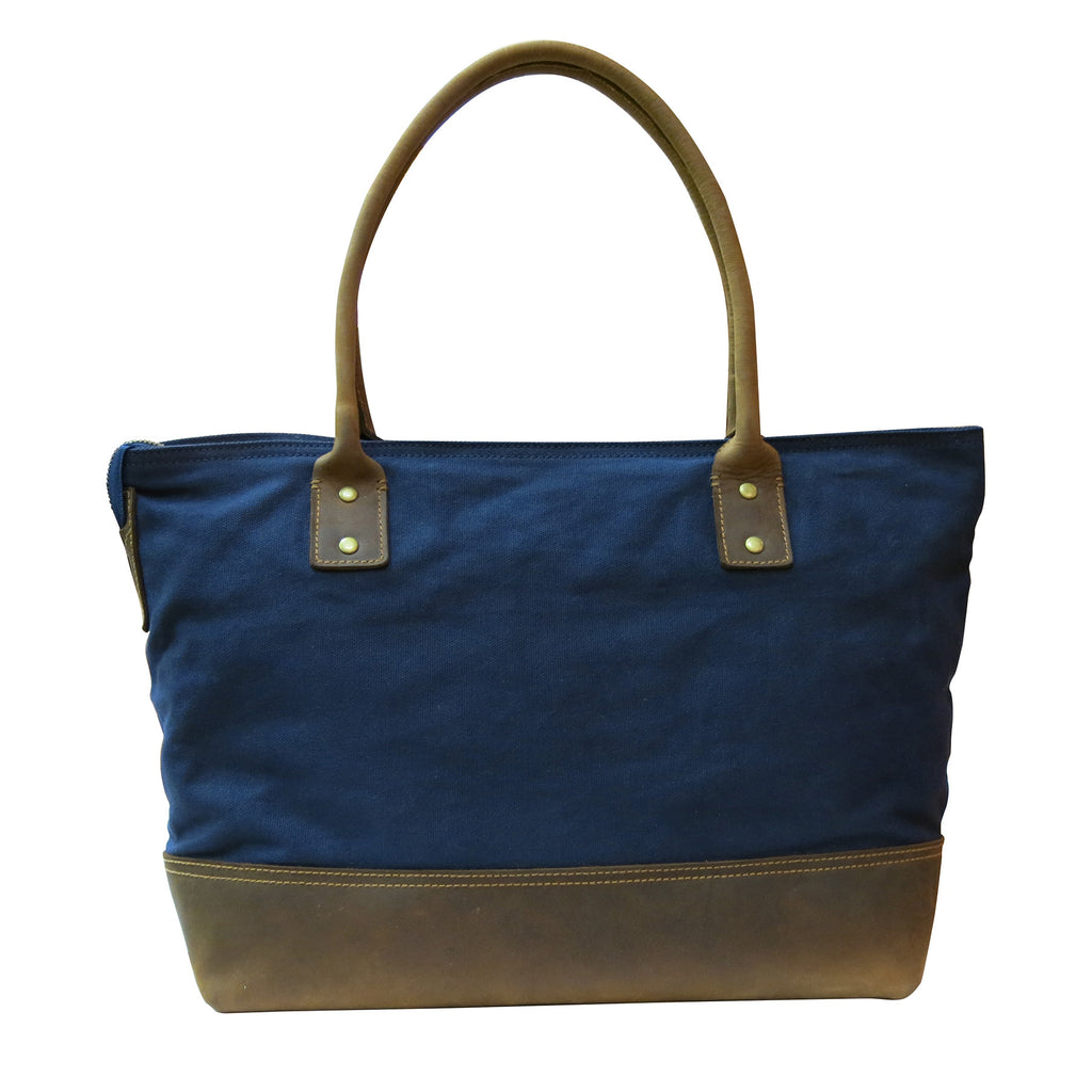 Multi Media Coated Canvas Tote Bag with Genuine Leather Trim