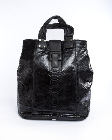 Python Black Barrel Tote Handbag