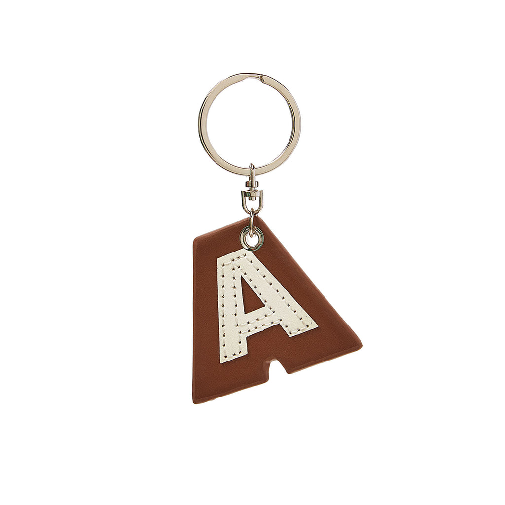 C Wonder Genuine Leather Initial Keychain - A