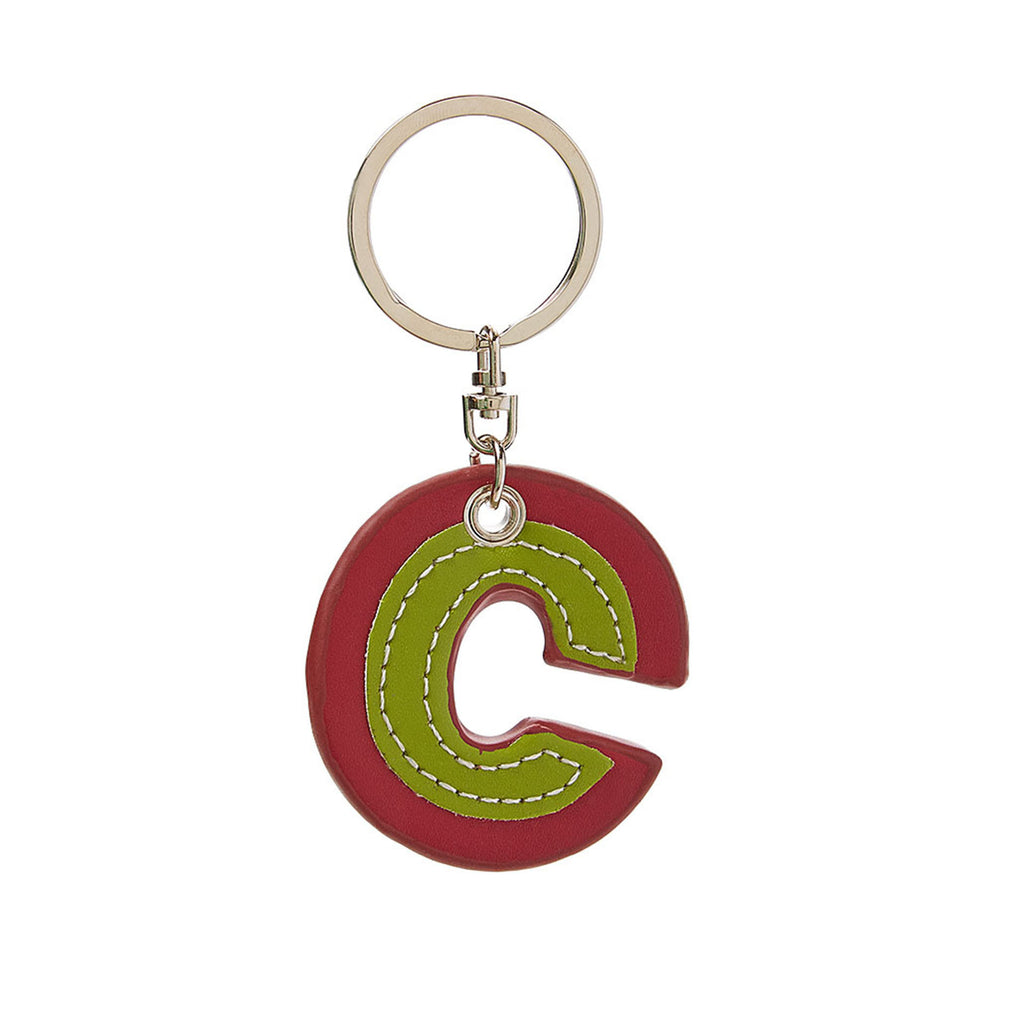 C Wonder Genuine Leather Initial Keychain - C