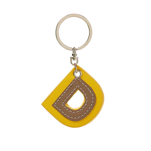 C Wonder Genuine Leather Initial Keychain - D