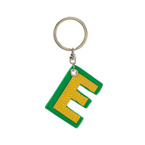 C Wonder Genuine Leather Initial Keychain - E