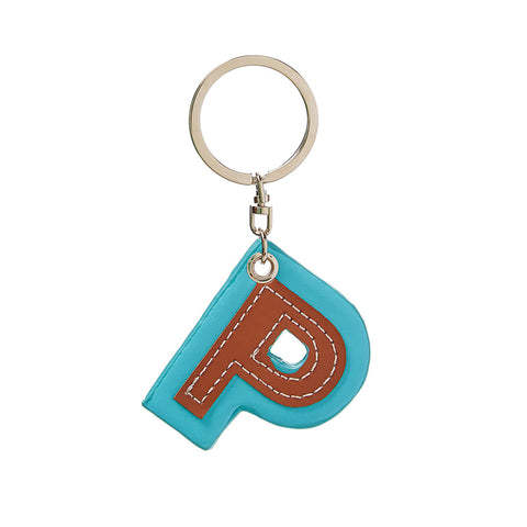 C Wonder Genuine Leather Initial Keychain - P