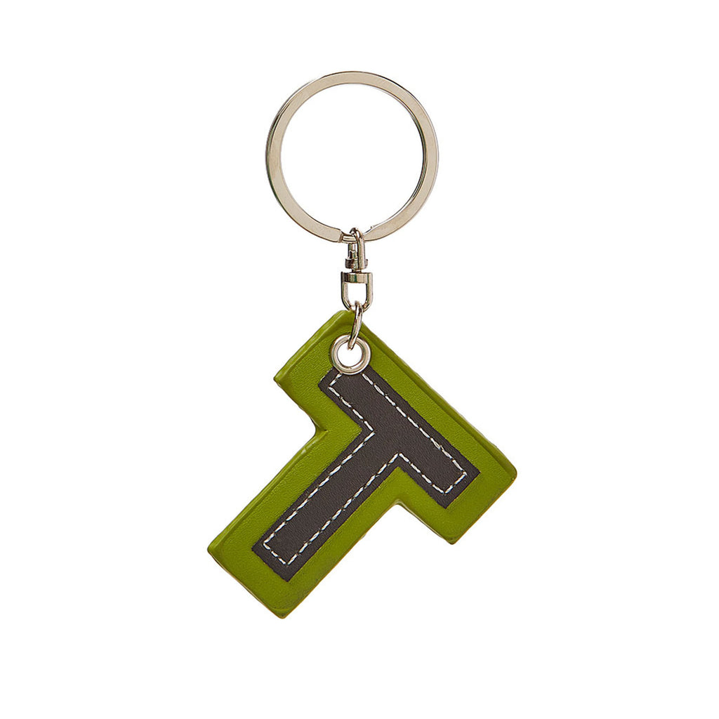 C Wonder Genuine Leather Initial Keychain - T