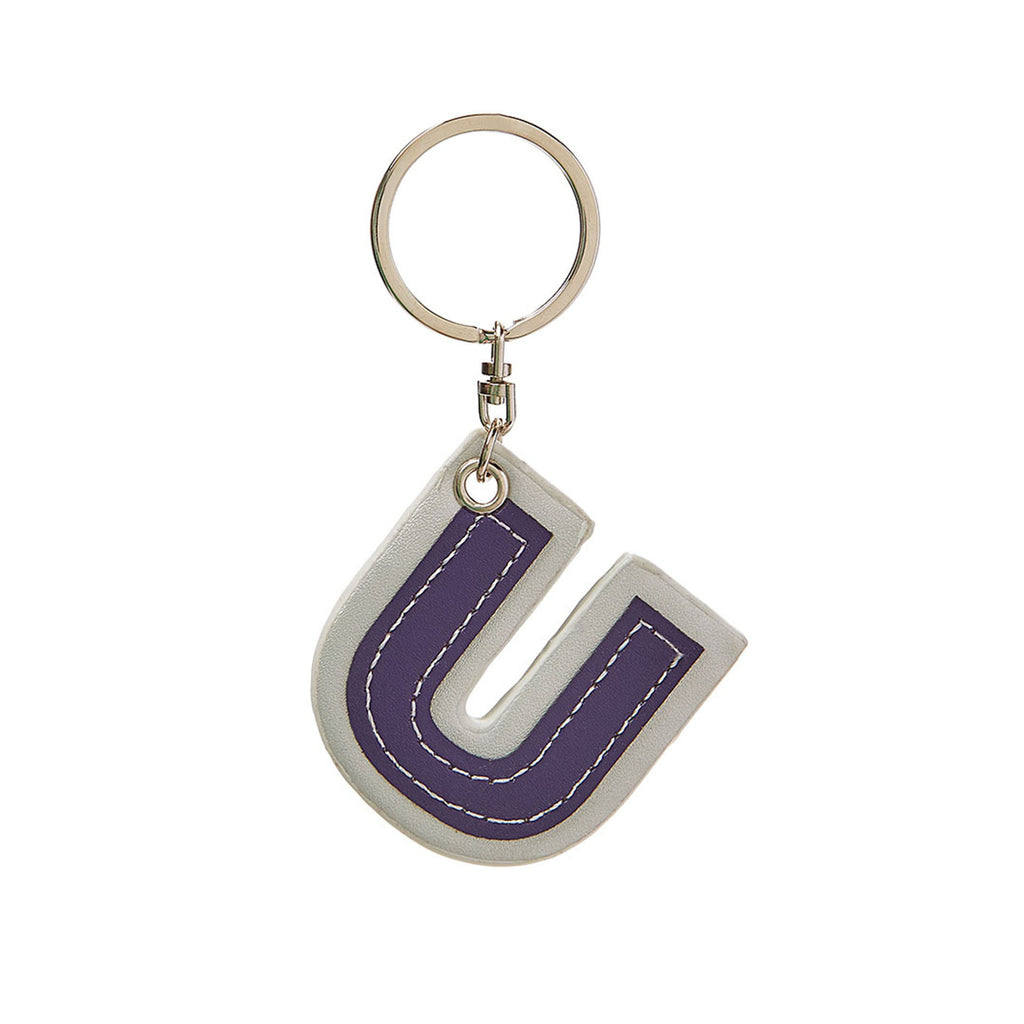 C Wonder Genuine Leather Initial Keychain - U