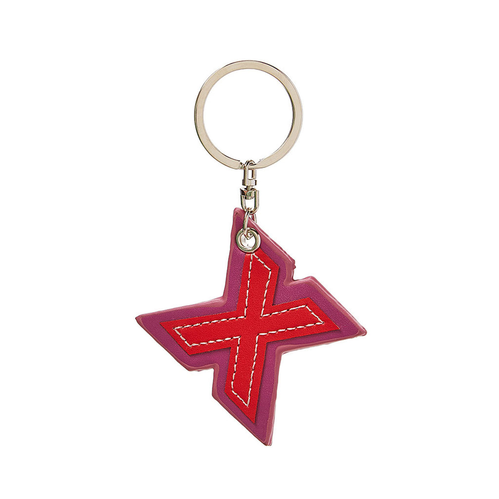 C Wonder Genuine Leather Initial Keychain - X