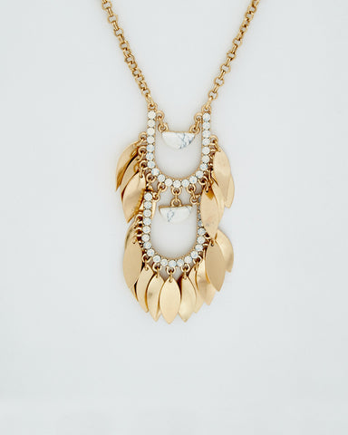 Howlite Feather Pendant Necklace