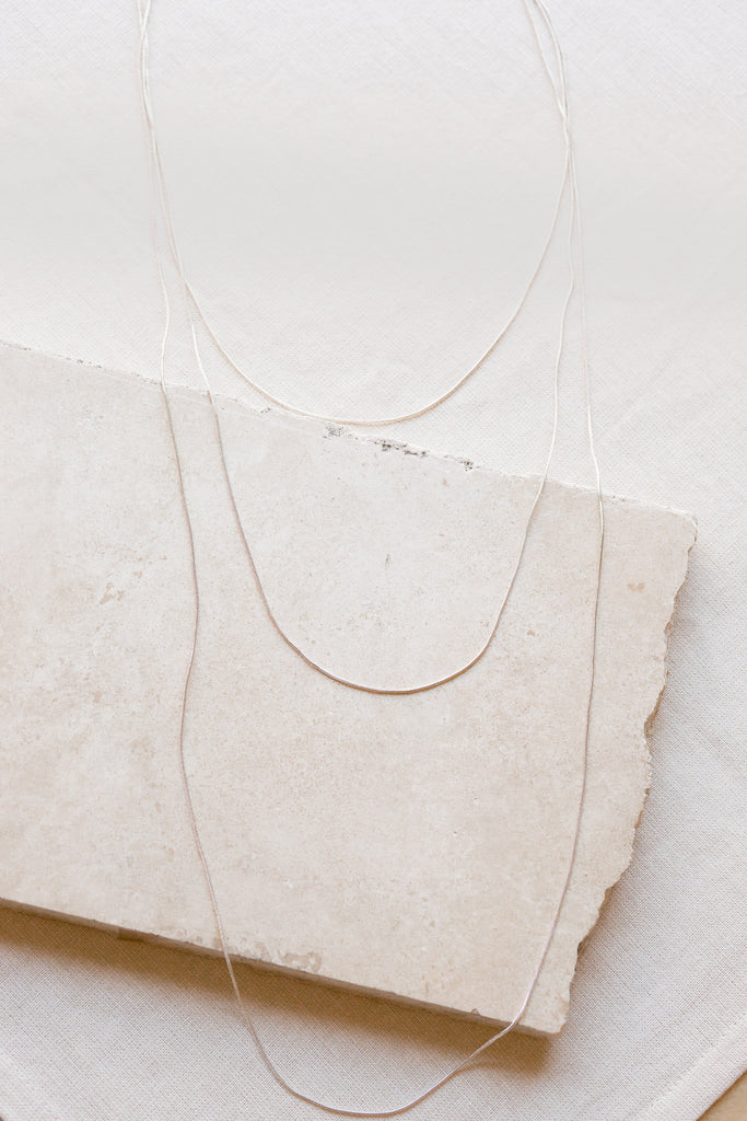 Multi Layer Silver Snake Chain Necklace
