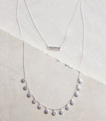 Double Layer Silver Coin & Agate Necklace