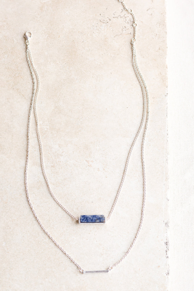 Agate & Bar Double Layer Necklace