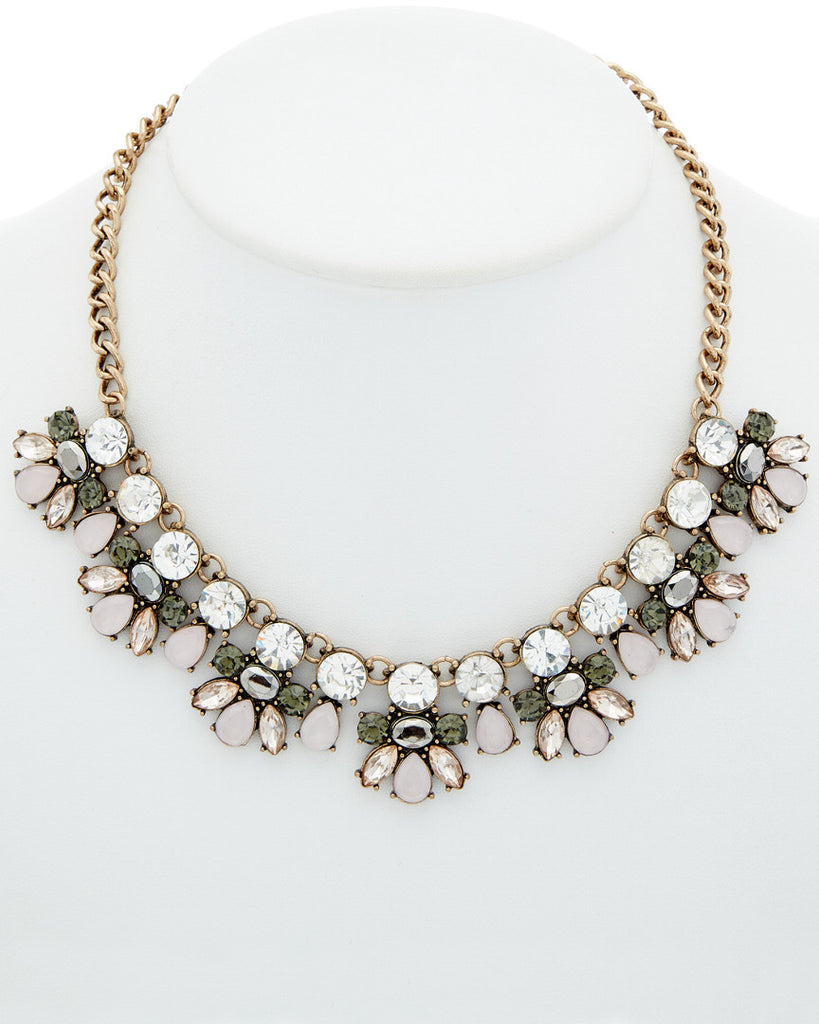 Quartz Rose Bud Statement Necklace