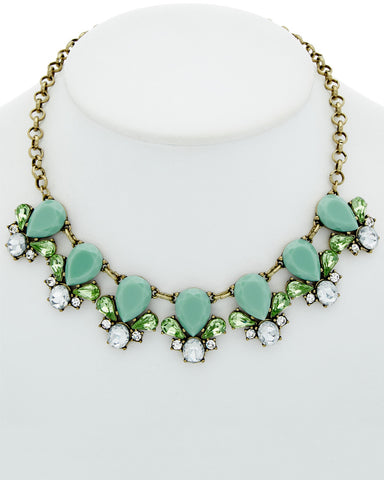 Quartz Blue Floral Statement Necklace