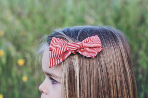 Red Stripe Bow Headband Lou Lou