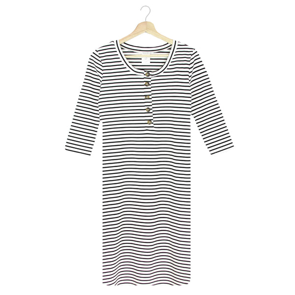 The Everyday Dress - Black + White Stripe