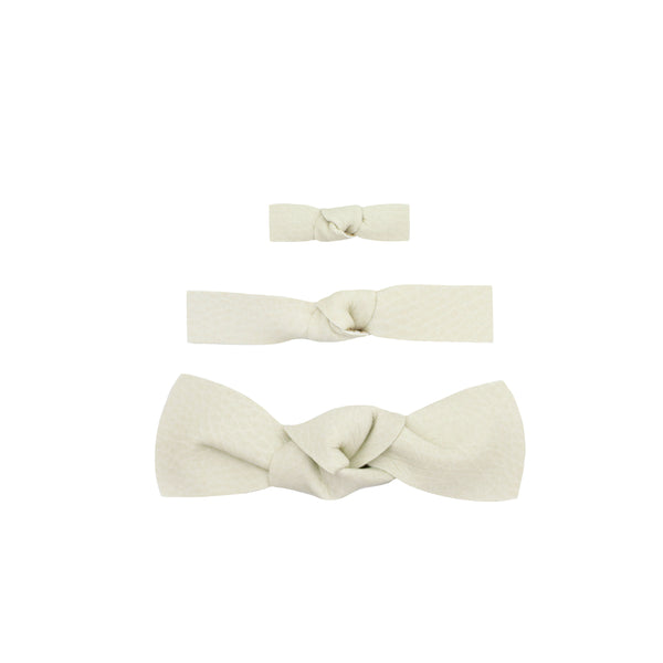 Leather - Blanc Knot Hair Clip