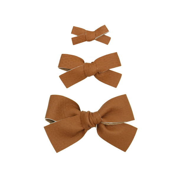 Leather - Ginger Bow Hair Clip