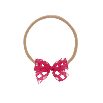 Mini Hot Pink Lace Vintage Bow