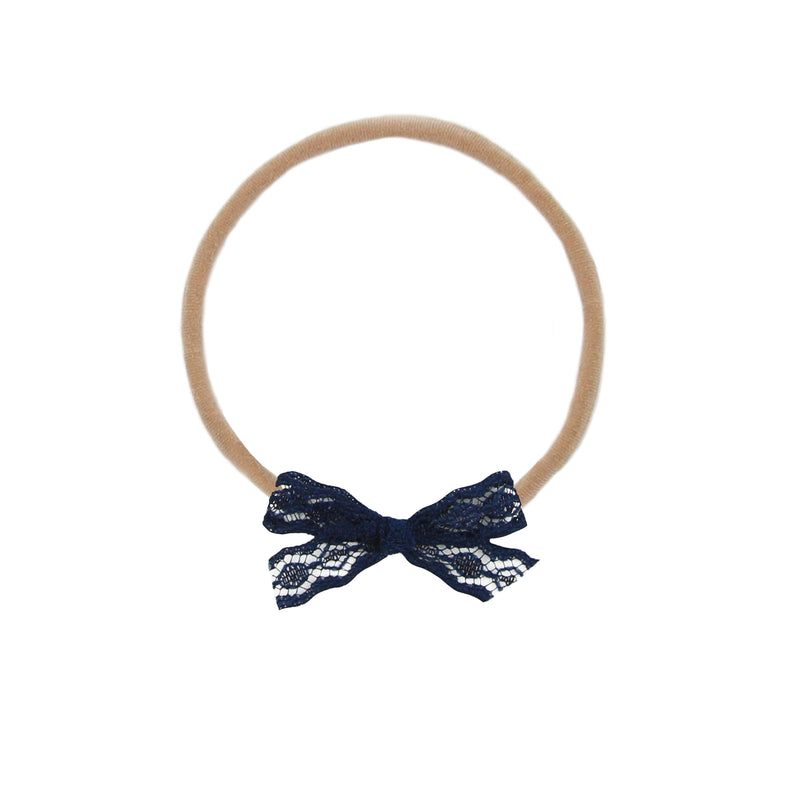 Mini Navy Lace Vintage Bow