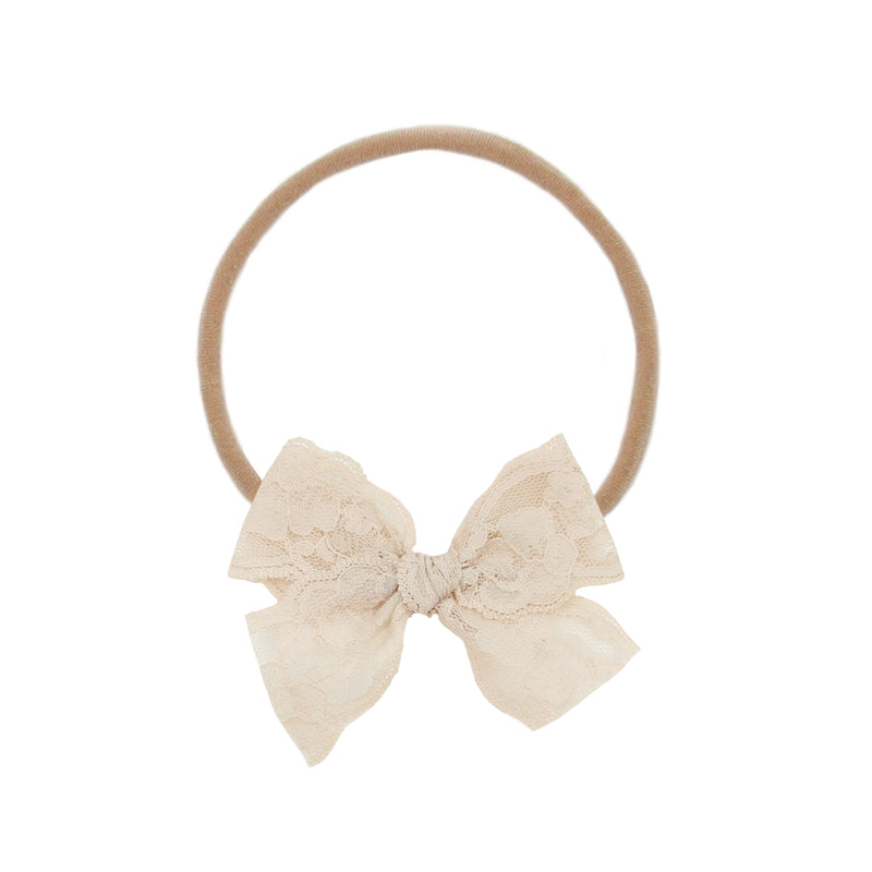 Taupe Lace Vintage Bow