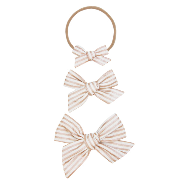 Rose Gold Stripe Classic Bow