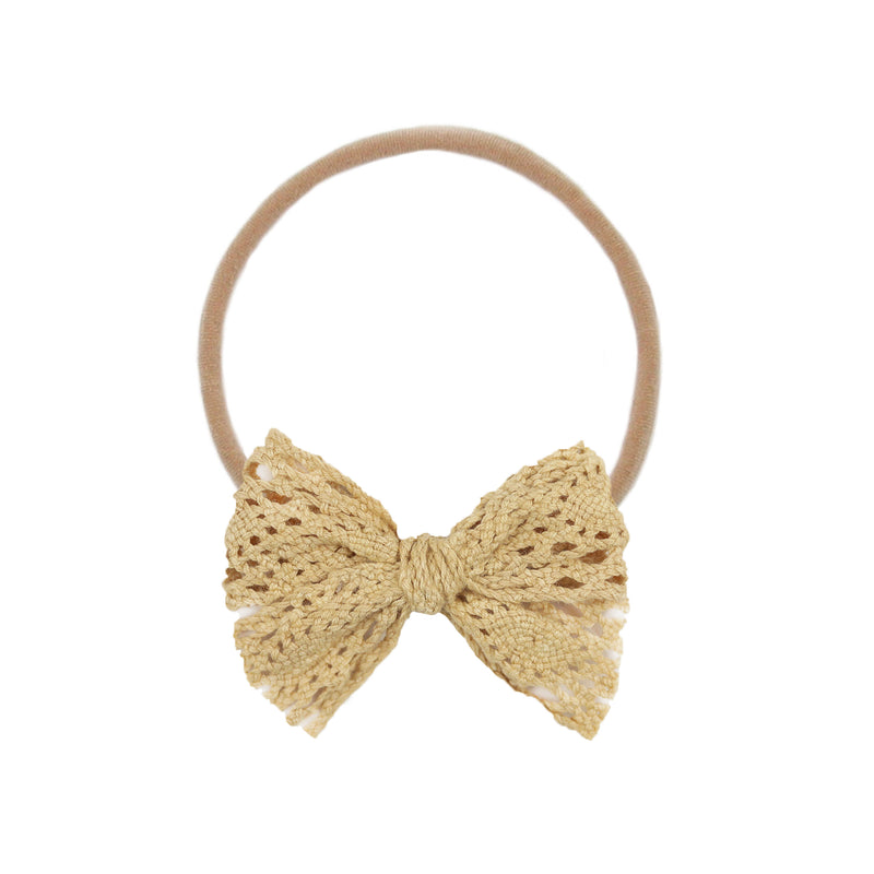 Tan Lace Vintage Bow